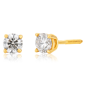 14ct Yellow Gold 0.3 Carat Diamond Stud Earrings with Screw Back Butterfly