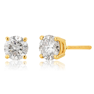 14ct Yellow Gold Diamond Stud Earrings with Appoximately 1 Carat of Diamonds