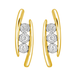 9ct Yellow Gold Illusion Set Diamond Stud Earrings