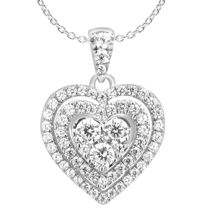 9ct White Gold Divine 1 Carat Diamond Heart Pendant on 45cm Gold Chain