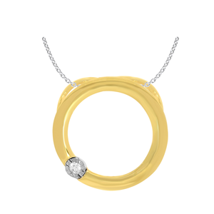 9ct Yellow Gold Impressive Diamond Pendant With 45cm Chain