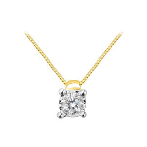 9ct Yellow Gold Lovely Diamond Pendant With 45cm Chain