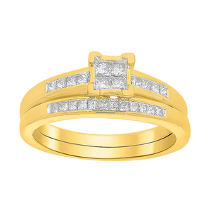 9ct Yellow Gold 2 Ring Bridal Set With 0.5 Carats Of Princess Cut Diamonds