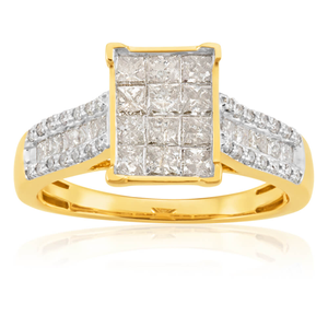 14ct Yellow Gold Ring With 1 Carat Of Diamonds
