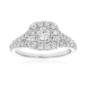 9ct White Gold Ring With 1 Carat Of Diamonds On Split Shank