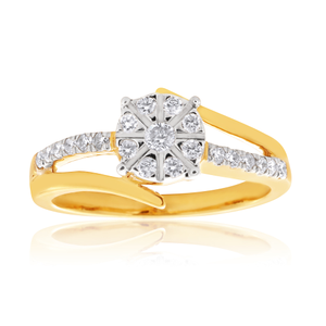 1/4 Carat Diamond Dress Ring in 9ct Yellow Gold
