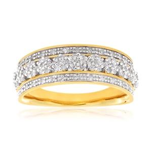 9ct Yellow Gold Ring Set With 0.25 Carat Of White Diamonds