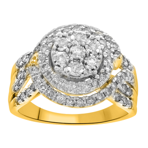 9ct Yellow Gold 1.5 Carat Diamond Cluster Ring with 79 Brilliant Diamonds