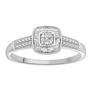 9ct White Gold Diamond Ring with 13 Brilliant Cut Diamonds
