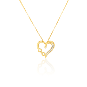 9ct Yellow Gold Diamond Infinity Heart Pendant on 45cm Chain