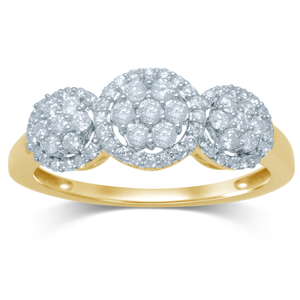 9ct Yellow Gold 1/2 Carat Diamond Ring Set with 69 Stunning Brilliant Diamonds