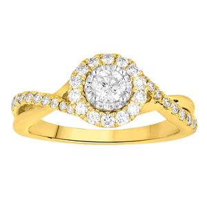 9ct Yellow Gold 0.6 Carat Diamond Ring with 1/4 Carat Centre Diamond