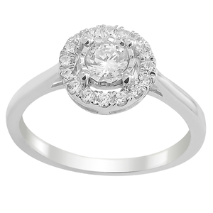 9ct White Gold 0.4 Carat Diamond Halo Ring set with 17 Brilliant Diamonds