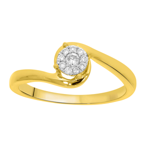 9ct Yellow Gold 0.1 Carat Diamond Swirl Halo Ring