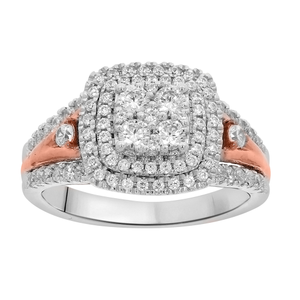 9ct White Gold 1 Carat Diamond Ring woth Pink Gold Rhodium Plating Accents