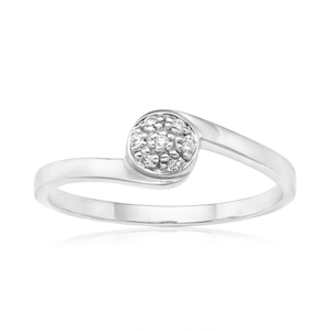 9ct White Gold Ring With 0.05 Carats Of Diamonds
