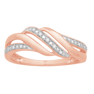 9ct Rose Gold Diamond Ring with 11 Brilliant Cut Diamonds