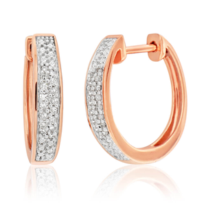 9ct Rose Gold Brilliant Cut Diamond Hoop Earrings
