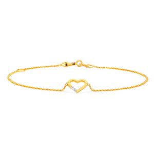 9ct Yellow Gold Diamond Heart Adjustable Bracelet