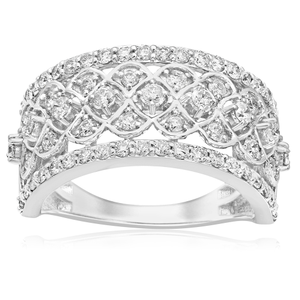 9ct White Gold Diamond Ring Set With 65 Stunning Brilliant Diamonds