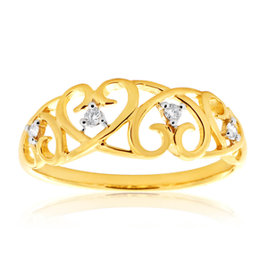 9ct Yellow Gold Filigree Diamond Ring