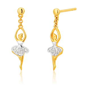9ct Yellow Gold Magnificent Diamond Earrings