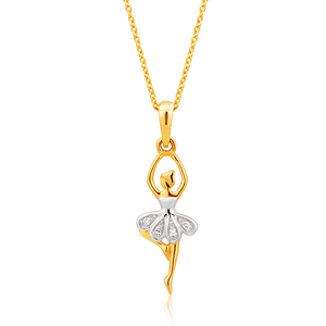 9ct Yellow Gold Classic Diamond Pendant With 45cm Chain