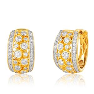 9ct Yellow Gold 3/4 Carat Diamond Hoop Earrings