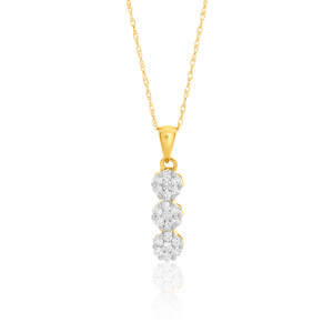 9ct Yellow Gold Delightful Diamond Pendant With 45cm Chain