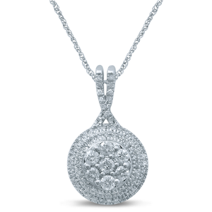 9ct White Gold 1/3 Carat Diamond Double Halo Round Pendant on 45cm Chain