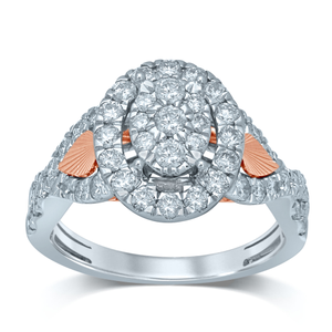 9ct White Gold & Rose Plated Ring With 1 Carat Of Brilliant Cut Diamonds
