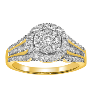 9ct Yellow Gold 1.5 Carat Diamond Double Halo Ring