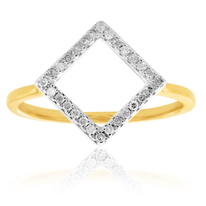 9ct 0.10 Carat Yellow Gold Geometric Diamond Ring