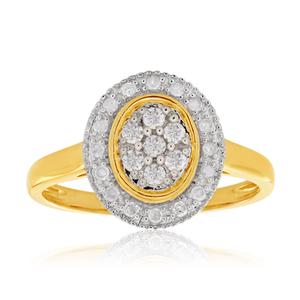 Australian Diamond 9ct Yellow Gold Oval Halo Diamond Ring