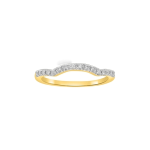 9ct Yellow Gold Curved Diamond Ring with 16 Brilliant Diamonds