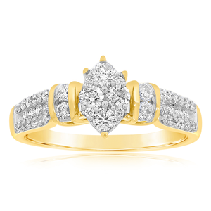 9ct Yellow Gold Magnificent 3/4 Carat Diamond Ring