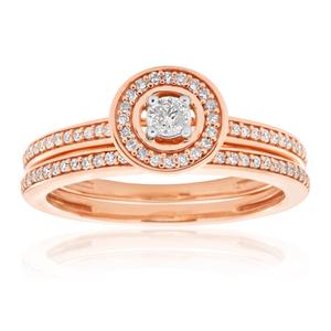 9ct Rose Gold 0.3 Carat Diamond Bridal 2 Ring Set