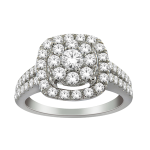 1.00 Carat Diamond Halo Ring set in 9ct White Gold