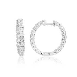 9ct White Gold 1 Carat Diamond Hoop Earrings with Diamonds Inside and Outside