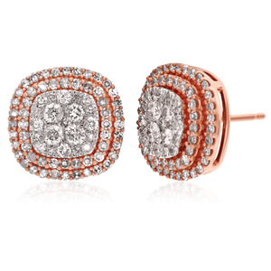 14ct 1.00 Carat Diamond Earrings in Rose Gold With White Rhodium
