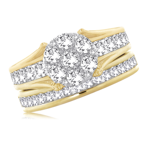 14ct Yellow Gold 2 Ring Bridal Set With 2 Carats Of Diamonds