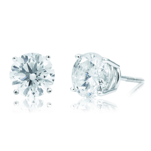 Certified Diamond 14ct White Gold Diamond Earrings