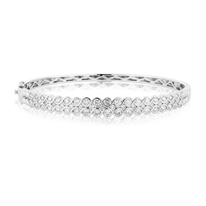 9ct White Gold Diamond Bangle