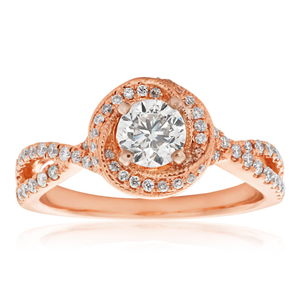 14ct 0.80 Carat Split Shank Diamond Ring in Rose Gold