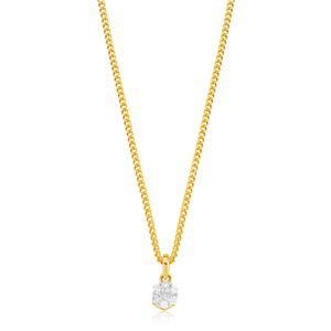 9ct Yellow Gold Diamond Pendant Set with 13 Brilliant Diamonds
