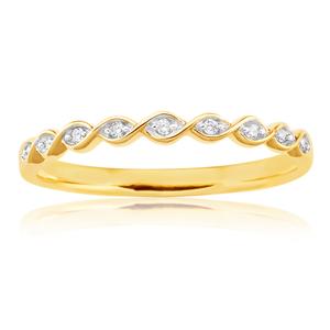 9ct White Gold Diamond Ring with 10 Brilliant Diamonds
