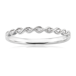 9ct White Gold Diamond Ring with 10 Brilliant Diamonds