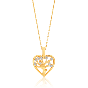 9ct Yellow Gold Diamond Tree of Life Enhancer Pendant With 45cm Chain