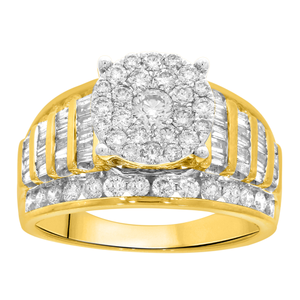 9ct Yellow Gold 2 Carat Diamond Ring set with 53 Brilliant and 44 Taperd Diamonds