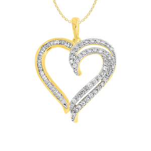 9ct Radiant Yellow Gold 1/2 Carat Diamond Heart Pendant With 45cm Chain